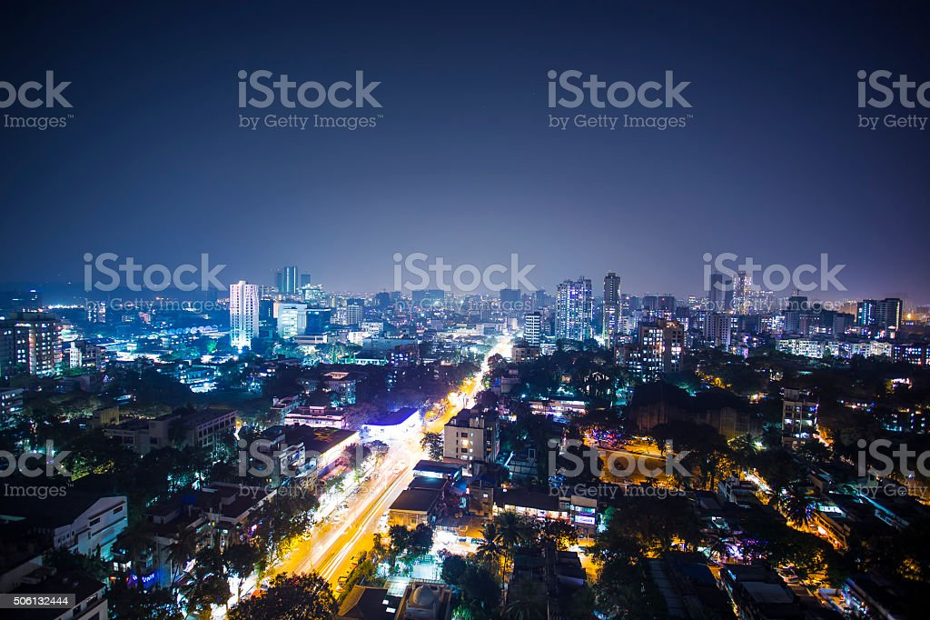 Diwali Night City View of India, Mumbai, Goregaun West. stock photo