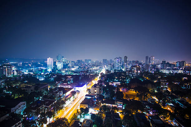 diwali night city view of india, mumbai, goregaun west. - mumbai stockfoto's en -beelden