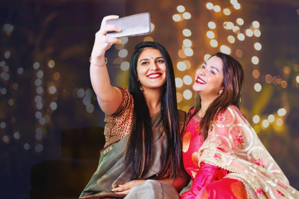 Diwali selfie stock photo