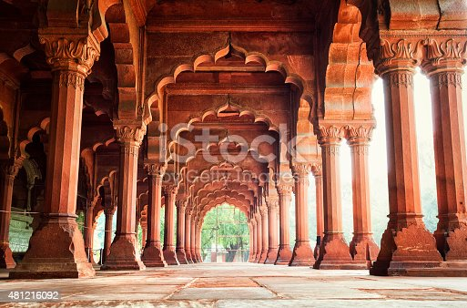 Diwan-i-Am (Hall of Audience) at the Red Fort in New Delhi, India.