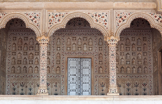 Diwaniam Hall Of Public Audience In Red Fort Agra India Stock Photo - Download Image Now