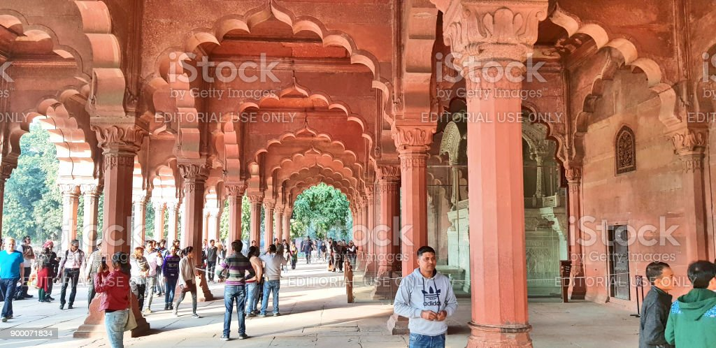 Diwan-i-Am, Red Fort, Delhi stock photo