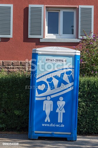 Pforzheim, Germany - July 13, 2018: The image shows a Dixi Toilet in Germany