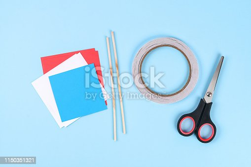 istock Diy 4th of July paper salute color American flag, red, blue, white. idea, decor USA Independence Day 1150351321