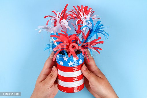 istock Diy 4th of July paper salute color American flag, red, blue, white. idea, decor USA Independence Day 1150351342