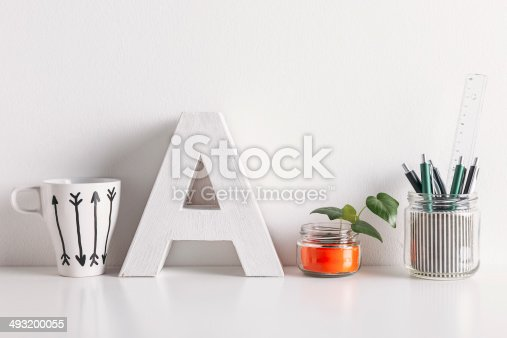 istock Diy office decoration on white background. 493200055