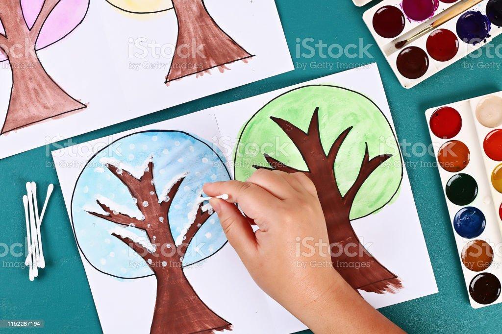 6 Diy paper tree four seasons summer, autumn, winter, spring. Tree 4...