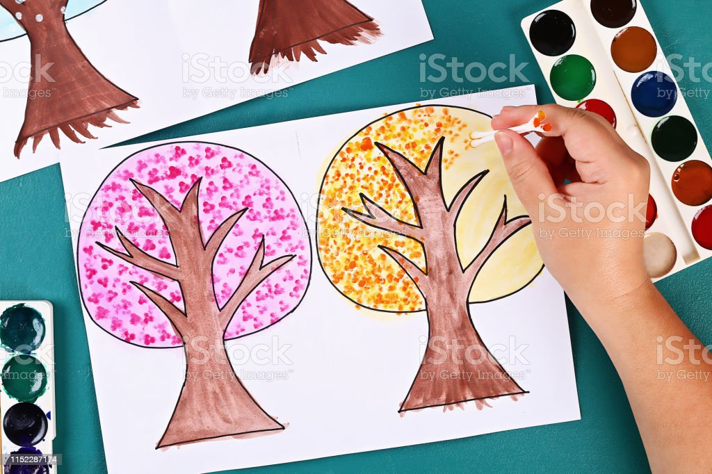 11 Diy paper tree four seasons summer, autumn, winter, spring. Tree 4...