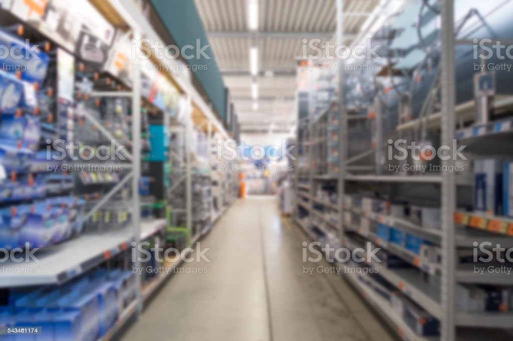 Diy store aisle out of focus. stock photo