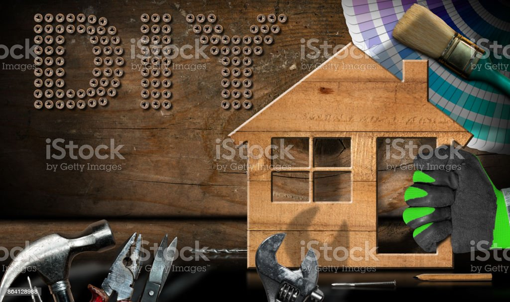 Diy Symbol - Work Tools and Model House royalty-free stock photo