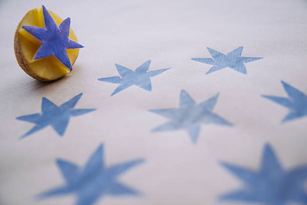 DiY wrapping paper with blue stars stock photo