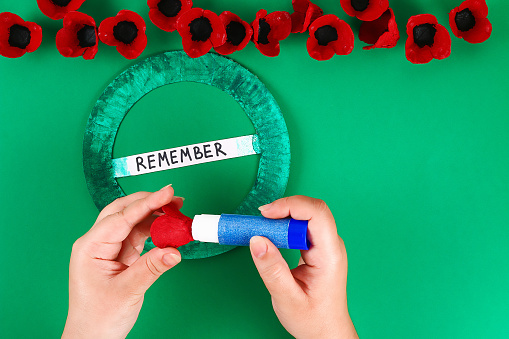 Diy wreath red poppy Anzac Day, Remembrance, Remember, Memorial day made of cardboard egg trays.