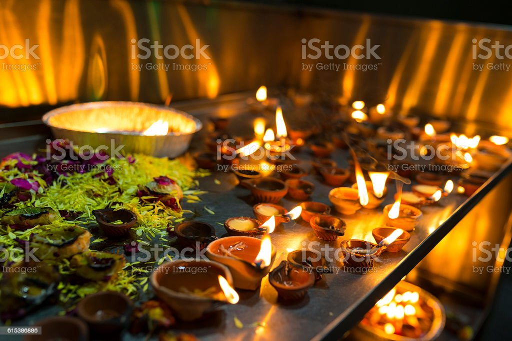 Diya in Hindu Temple stock photo