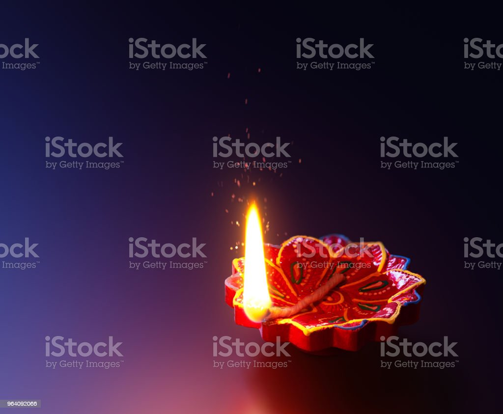 Diya lamp lit during diwali celebration - Royalty-free Backgrounds Stock Photo