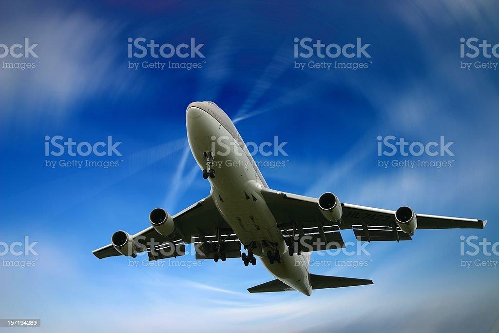 Dizzy landing of a Jumbo Boeing 747 stock photo