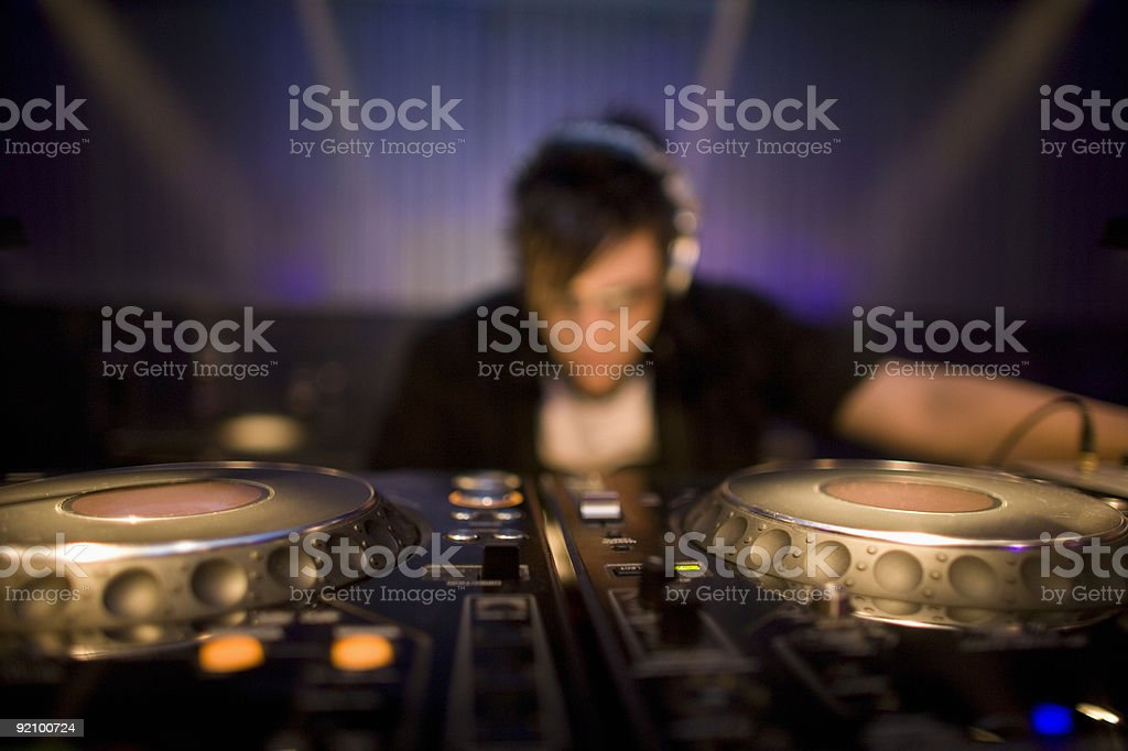 Dj and turntables stock photo
