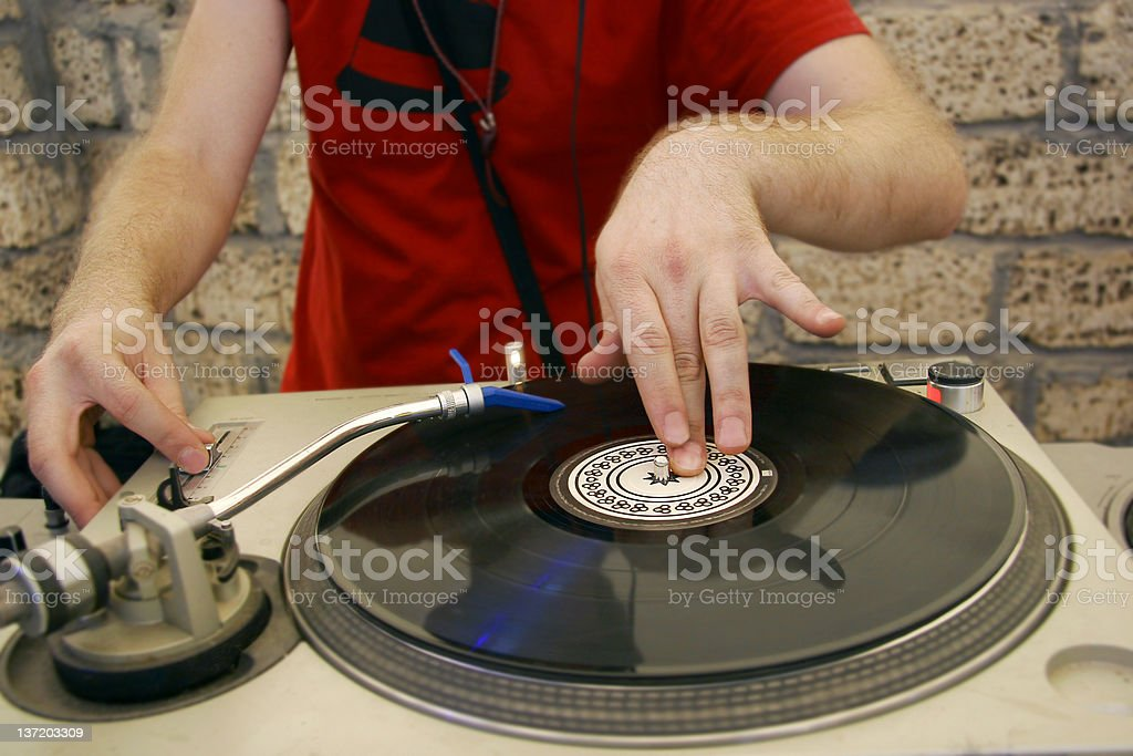 dj at sound mixer stock photo