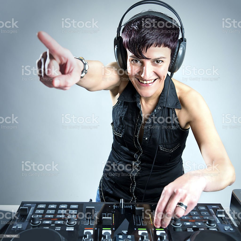 Dj in action royalty-free stock photo