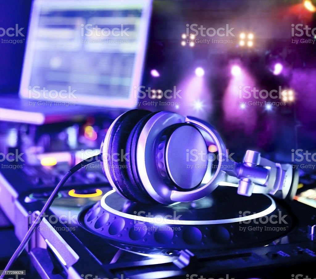 Dj mixer with headphones royalty-free stock photo