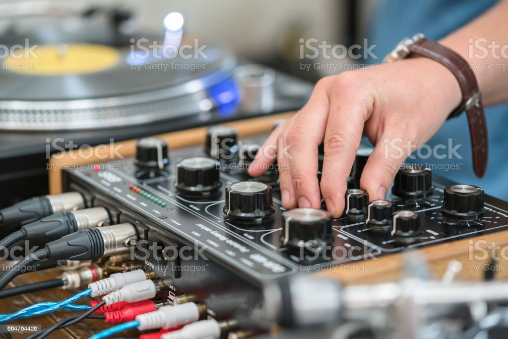 Dj Play Music At Hip Hop Partyturntable Vinyl Record