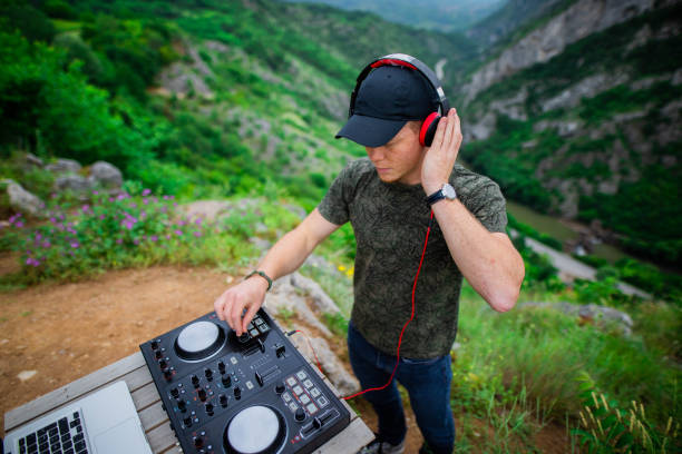Dj playing music in nature