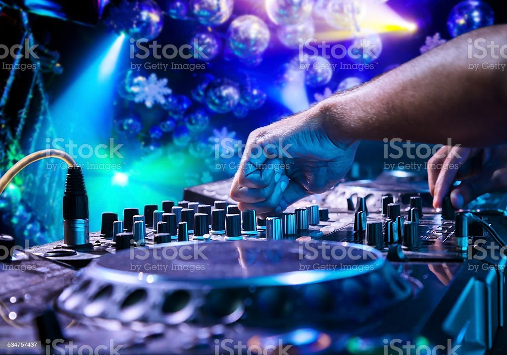 Dj playing the track stock photo