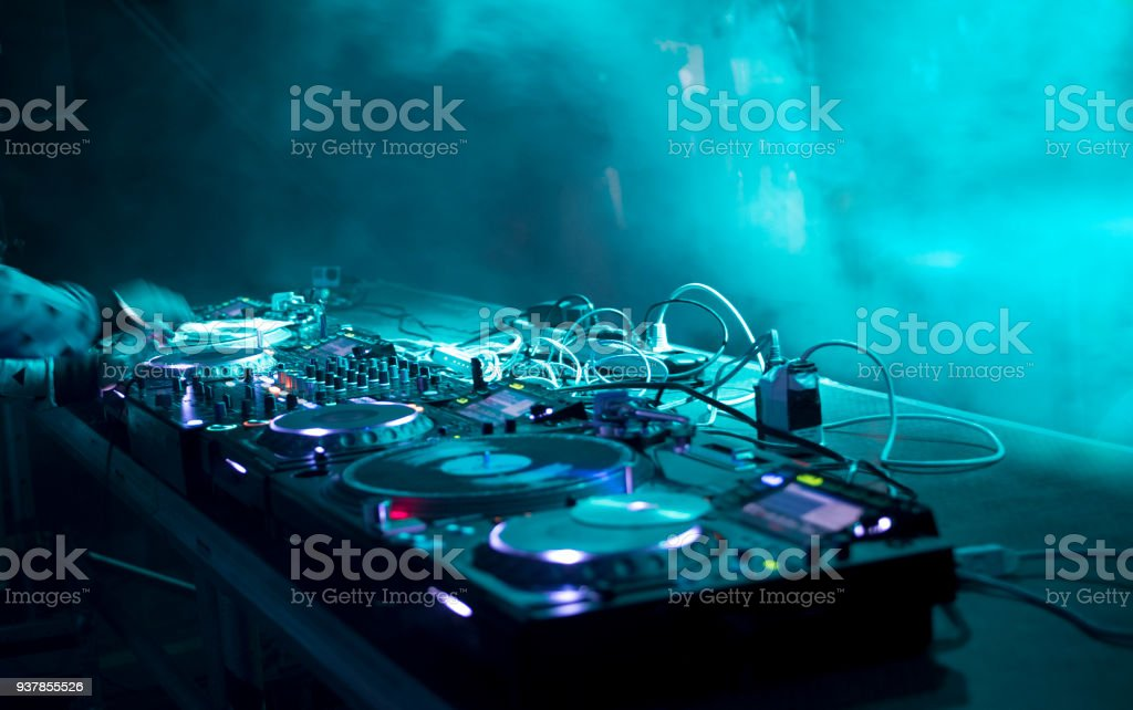 dj stand at a party stock photo