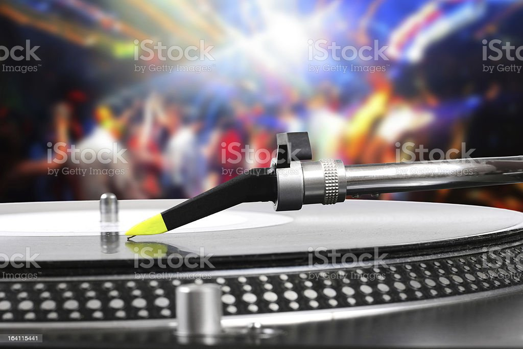 dj turntable with vinyl record in the dance club royalty-free stock photo