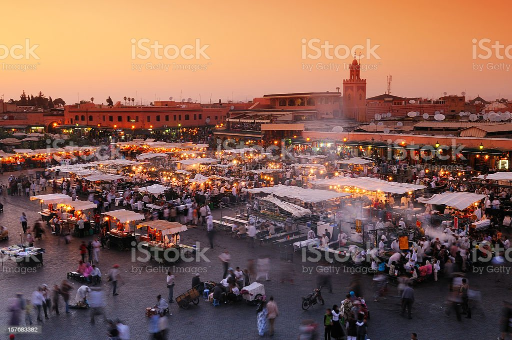 Djemaa El Fna, Marrakech, Morocco stock photo
