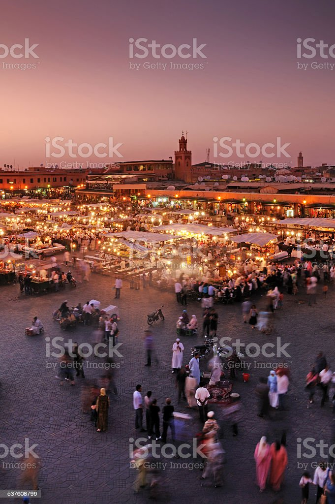 Djemaa El Fna Square, Marrakech, Morocco stock photo