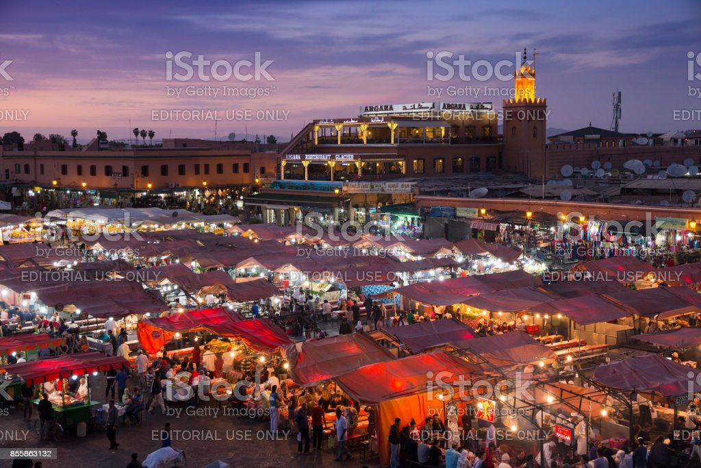 Djemaa El Fna square. Marrakesh, Morocco stock photo