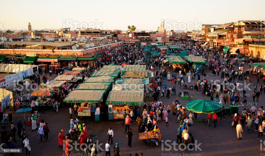 Djemaa El Fna Square with Koutoubia Mosque, Marrakech, Morocco stock photo