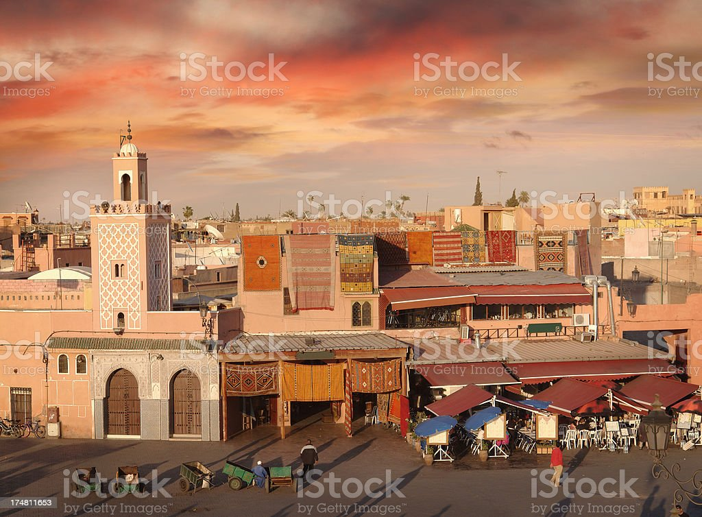 Djemaa el-Fna Square in Marrakesh stock photo