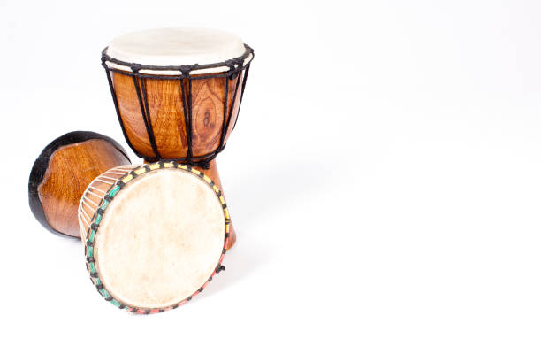 Djembe drum isolated on white - Background, copy space stock photo