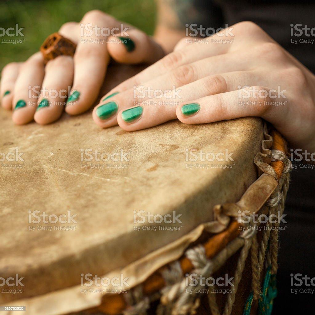 Djembe drumming stock photo