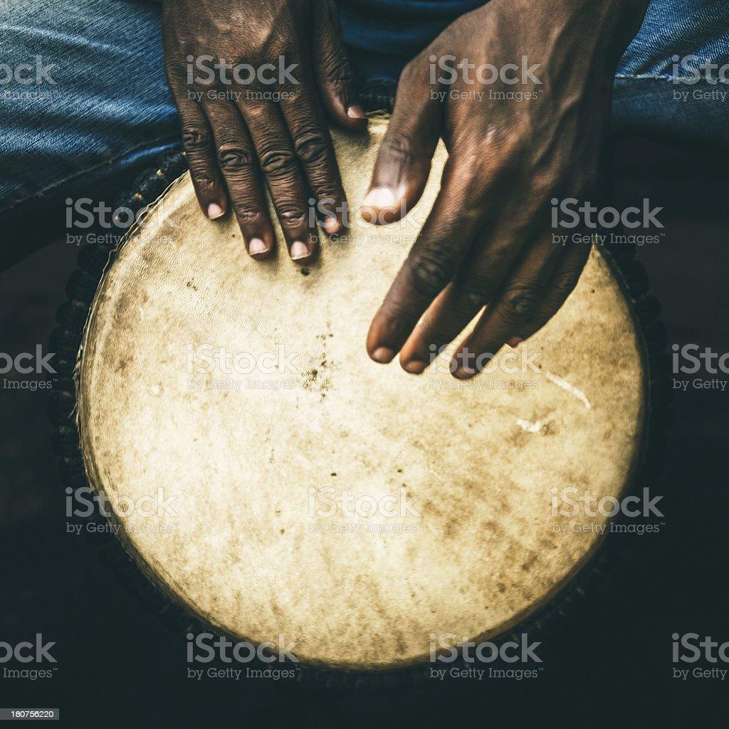Djembe player. royalty-free stock photo