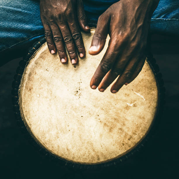 Djembe player. stock photo