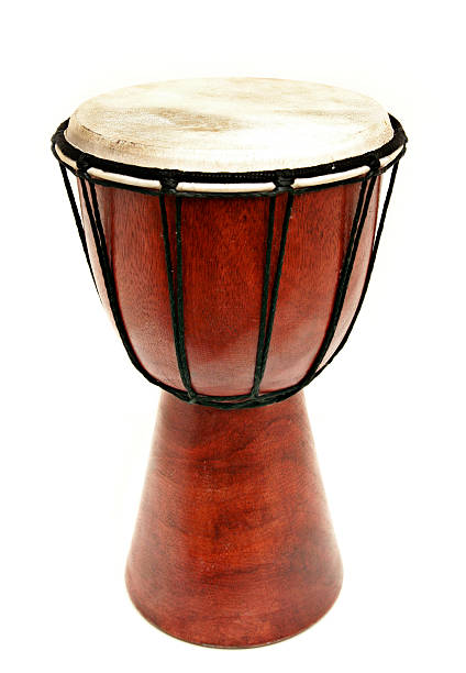 Djembe Wooden Hand Drum Isolated on White stock photo