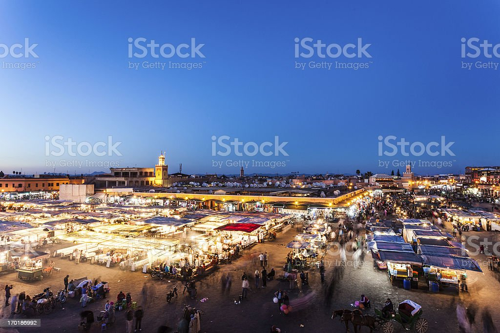 Djemma el Fna in Marrakech at Dusk, Morocco Landmark stock photo