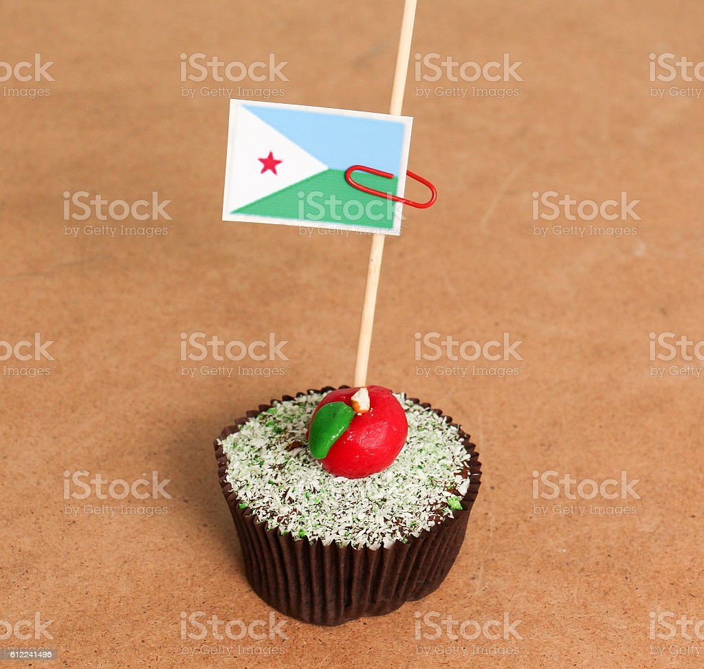 Djibouti flag on a apple cupcake stock photo