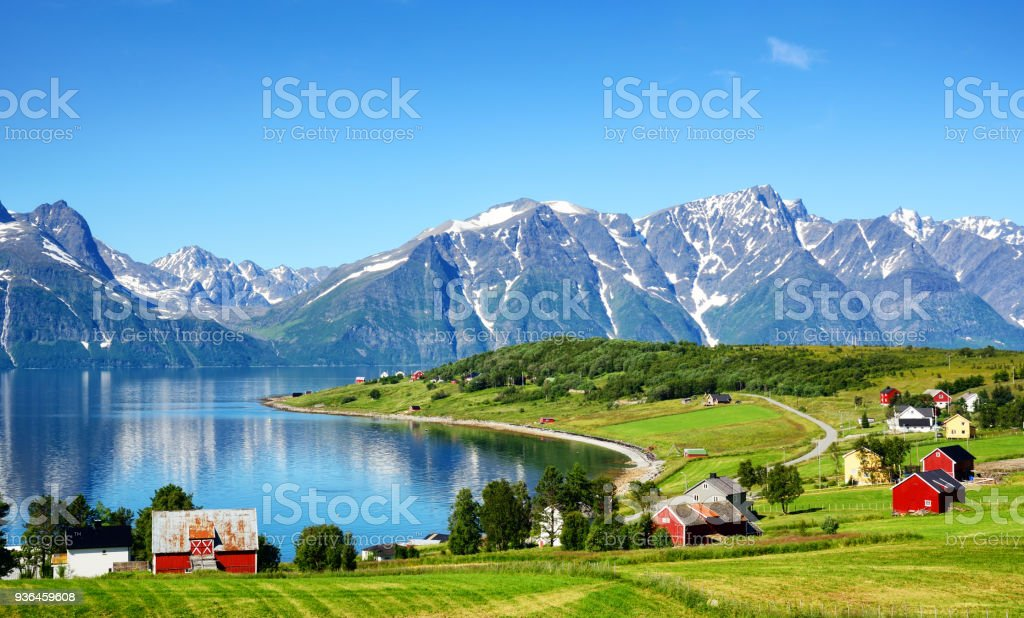 Djupvik village, Norway stock photo