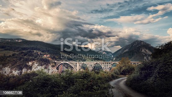 Beautiful view to the Djurdjevica Tara Bridge in Montenegro. Canyon of river Tara is the deepest in Europe and second in the world