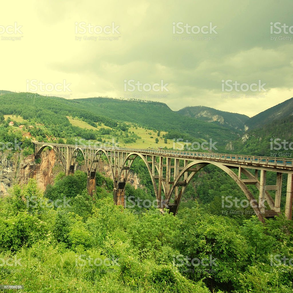 Djurdjevica Tara Bridge,Montenegro stock photo