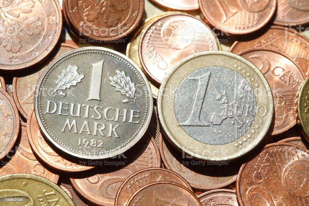 D-Mark, Eurogeld, Münzen, Euro, Euros stock photo