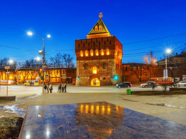 Cтоковое фото Dmitrievskaya tower of the Kremlin in the evening light in Nizhny Novgorod