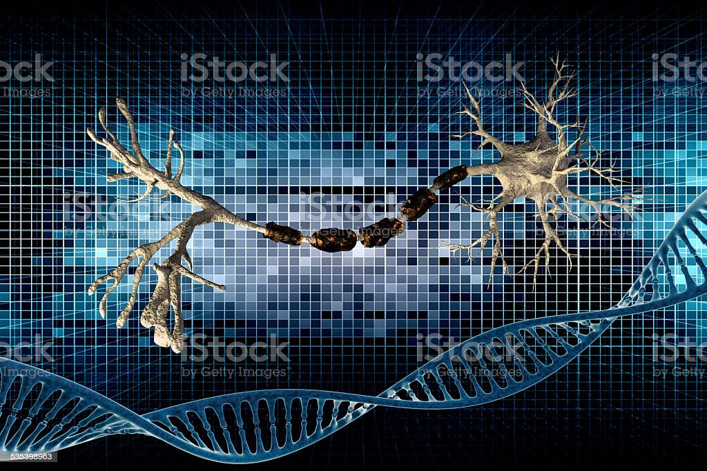 dna and neuron stock photo