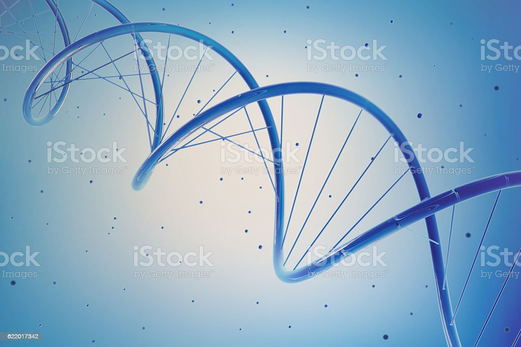 Dna helix strand genetic cells in blue stock photo