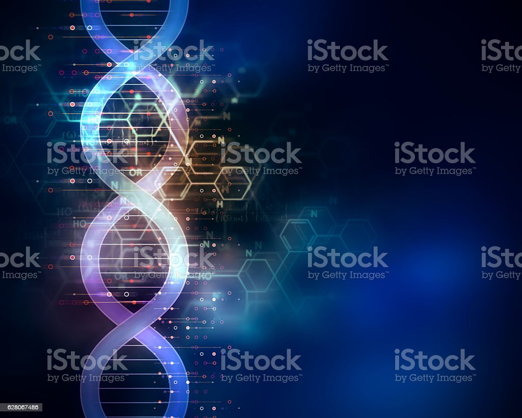 dna molecules on abstract technology background - foto de stock