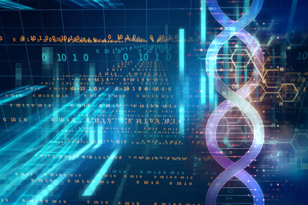 dna molecules on abstract technology background stock photo