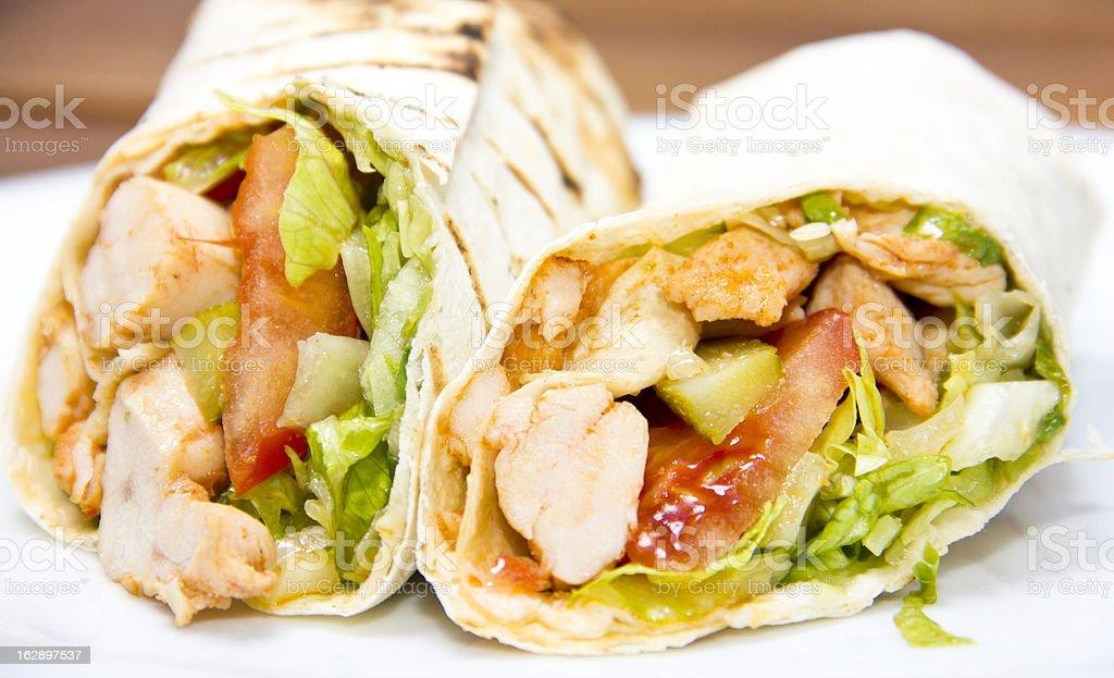 Döner kebap - Chicken Salad Sandwich Wrap royalty-free stock photo